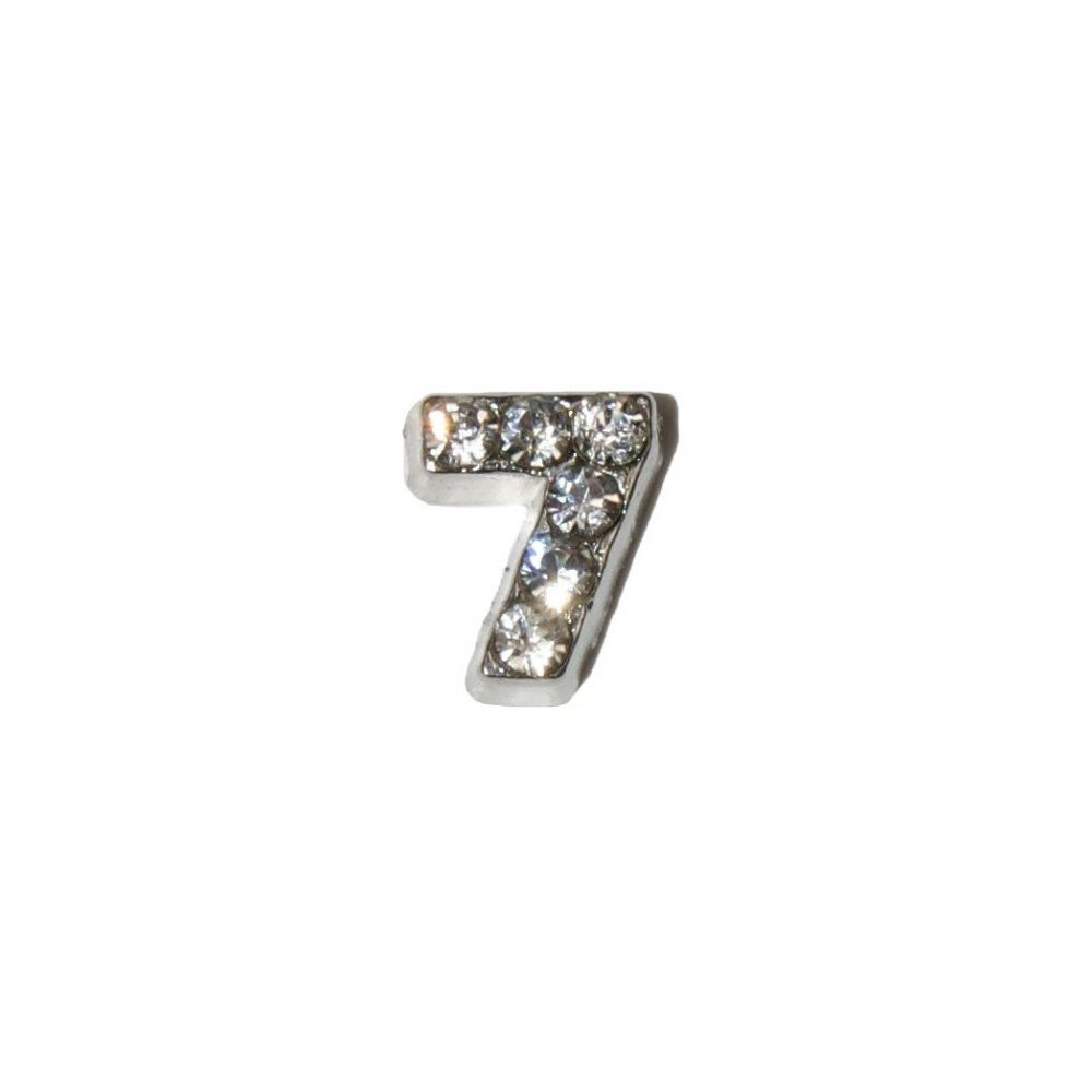 number 7 with stones 7mm floating locket charm